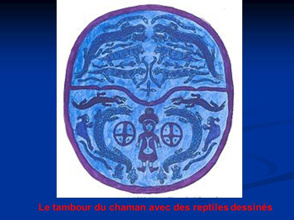 Le tambour du chaman avec des reptiles dessinés