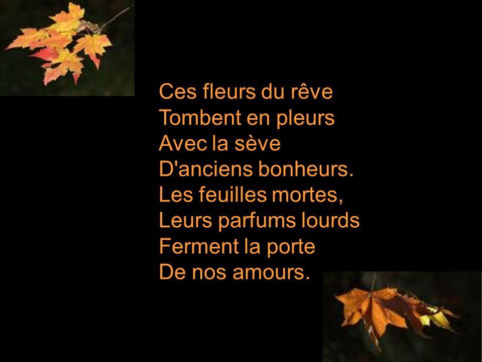 Ces fleurs du rêve Tombent en pleurs Avec la sève D anciens bonheurs