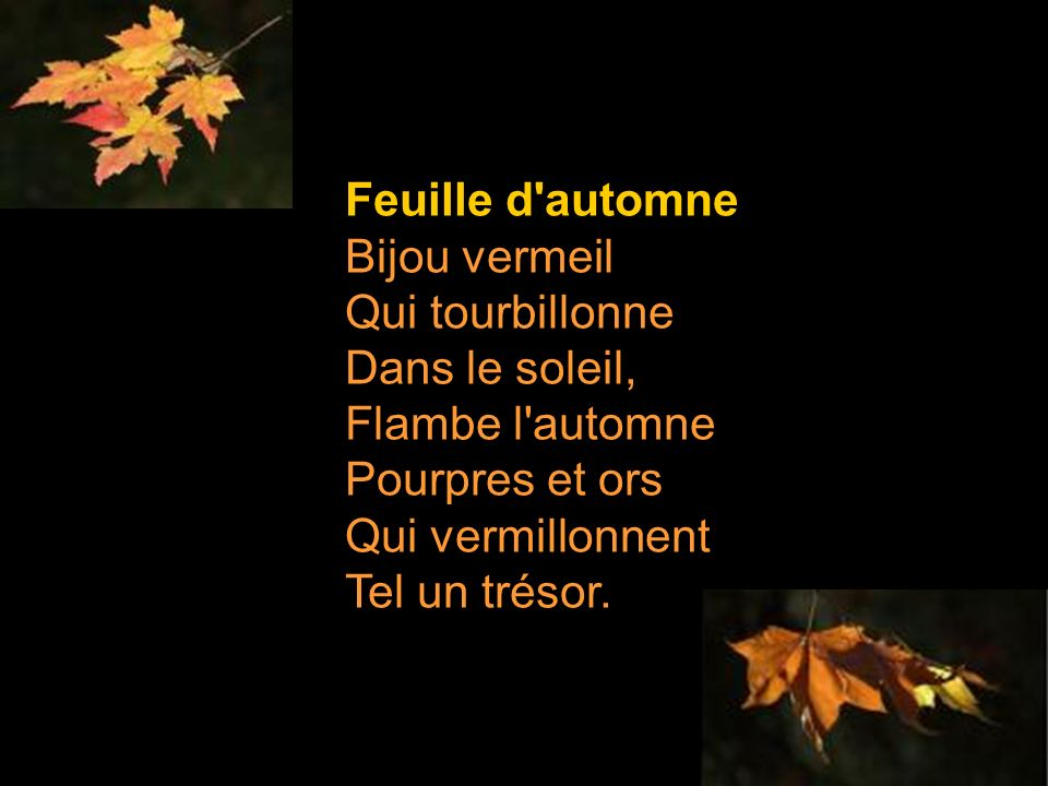 Feuille d automne Bijou vermeil Qui tourbillonne Dans le soleil, Flambe l automne Pourpres et ors Qui vermillonnent Tel un trésor.