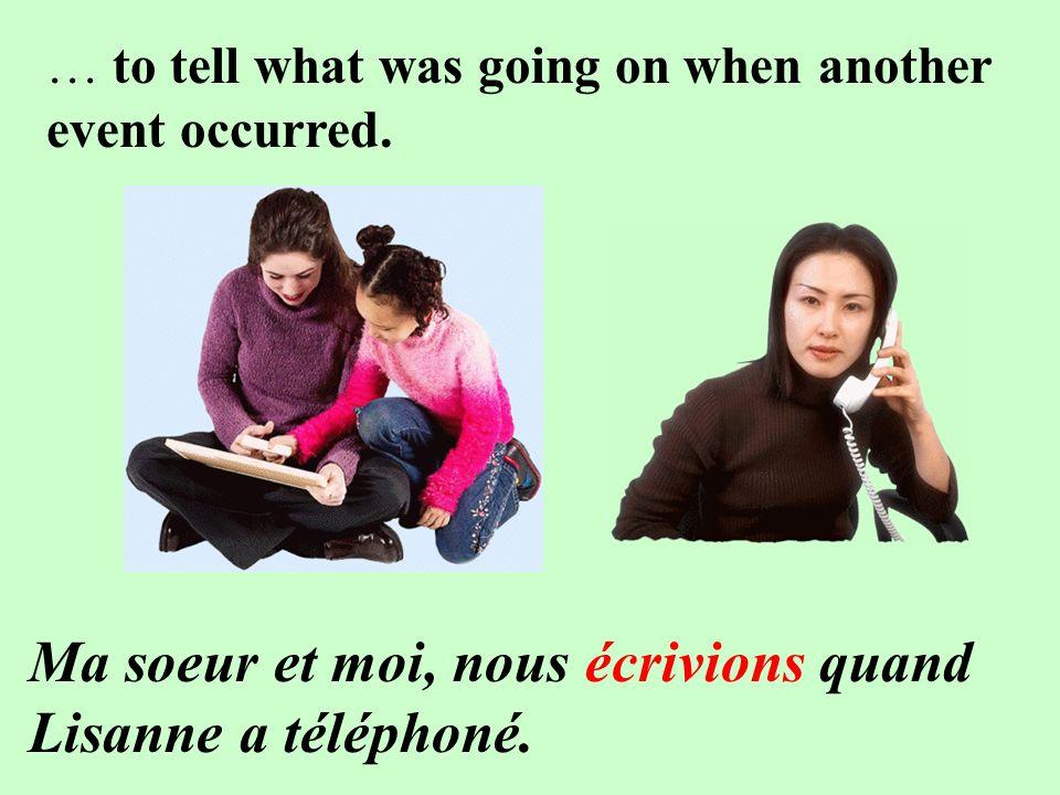 Ma soeur et moi, nous écrivions quand Lisanne a téléphoné.