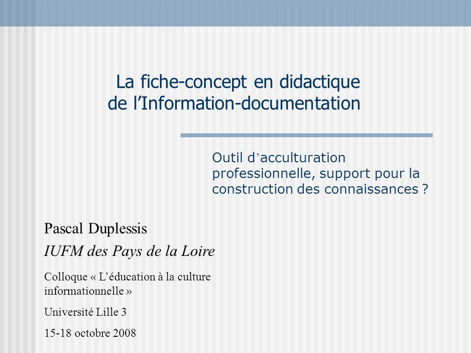La fiche-concept en didactique de l'Information-documentation