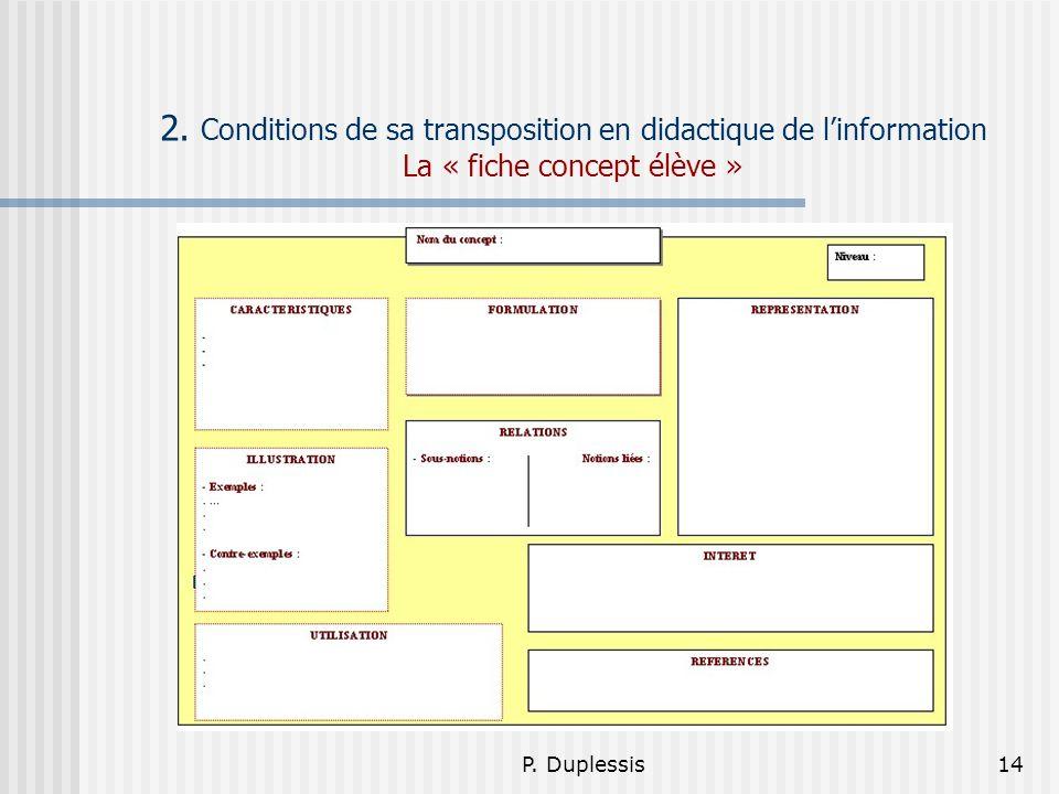 2. Conditions de sa transposition en didactique de l'information La « fiche concept élève »
