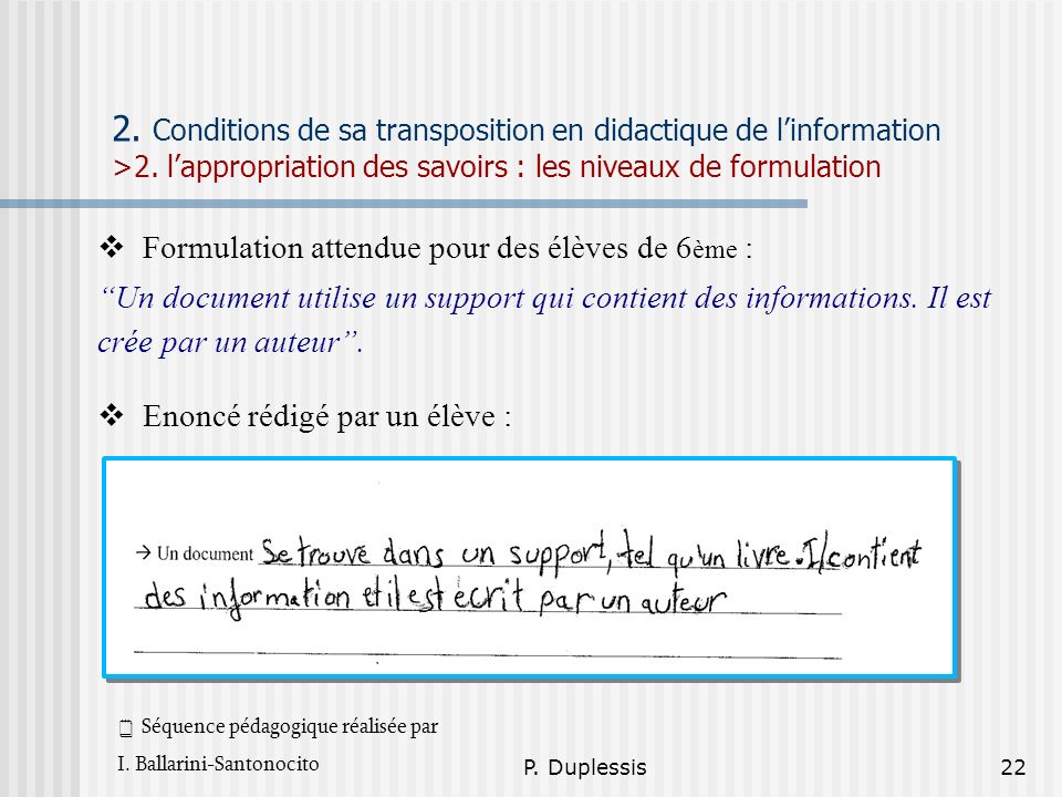2. Conditions de sa transposition en didactique de l'information >2