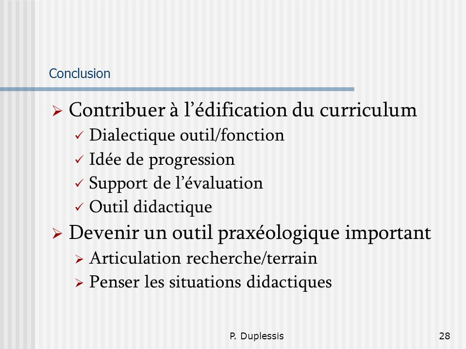 Contribuer à l'édification du curriculum