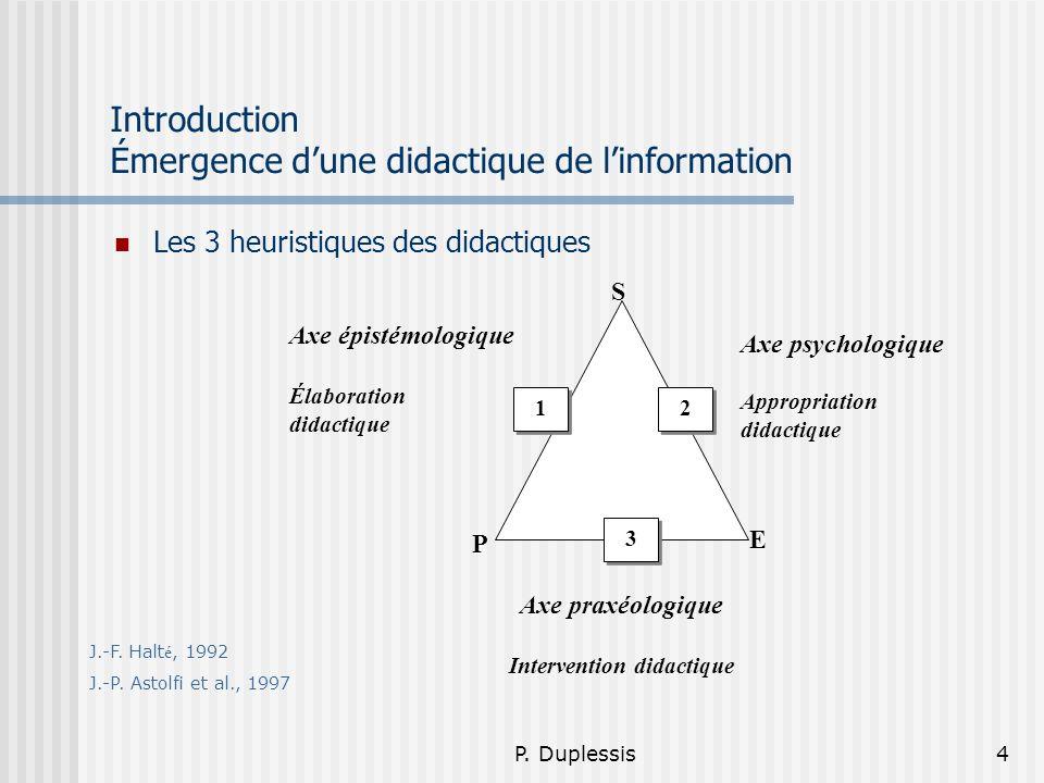 Introduction Émergence d'une didactique de l'information