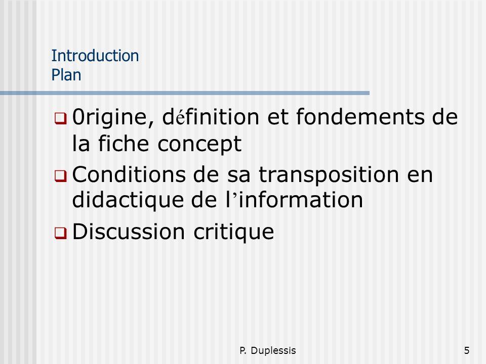 0rigine, définition et fondements de la fiche concept