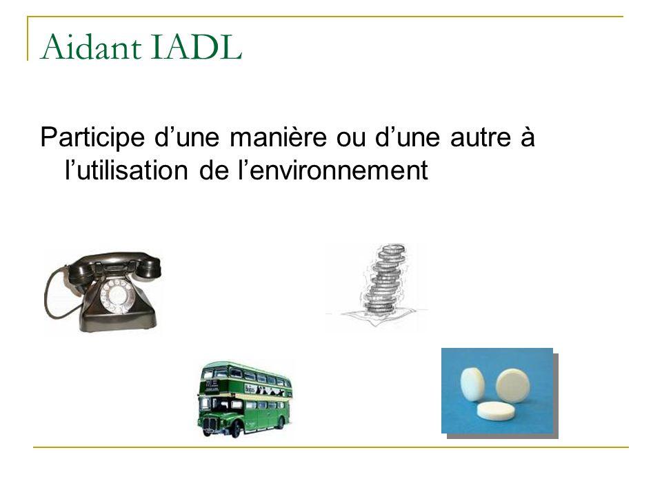 Aidant IADL Participe d'une manière ou d'une autre à l'utilisation de l'environnement