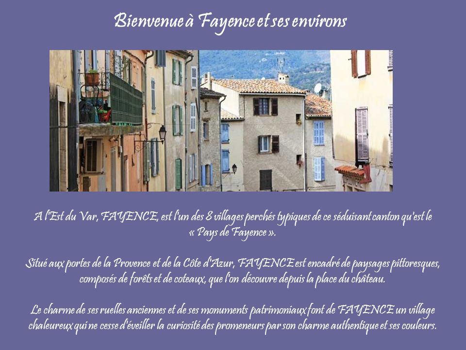 Bienvenue à Fayence et ses environs