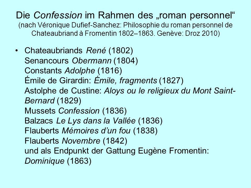"""Die Confession im Rahmen des """"roman personnel (nach Véronique Dufief-Sanchez: Philosophie du roman personnel de Chateaubriand à Fromentin 1802–1863. Genève: Droz 2010)"""
