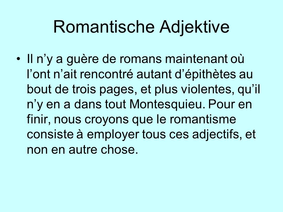 Romantische Adjektive