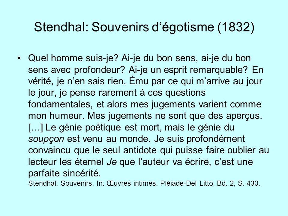 Stendhal: Souvenirs d'égotisme (1832)