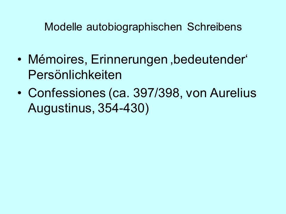Modelle autobiographischen Schreibens