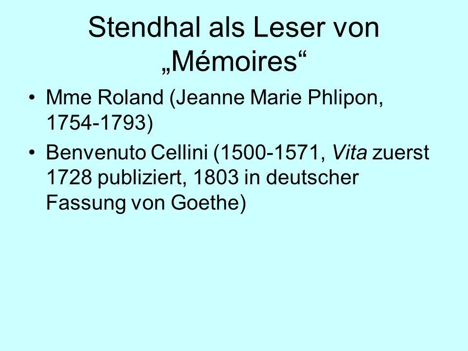 """Stendhal als Leser von """"Mémoires"""