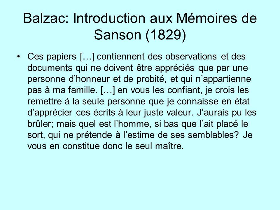 Balzac: Introduction aux Mémoires de Sanson (1829)