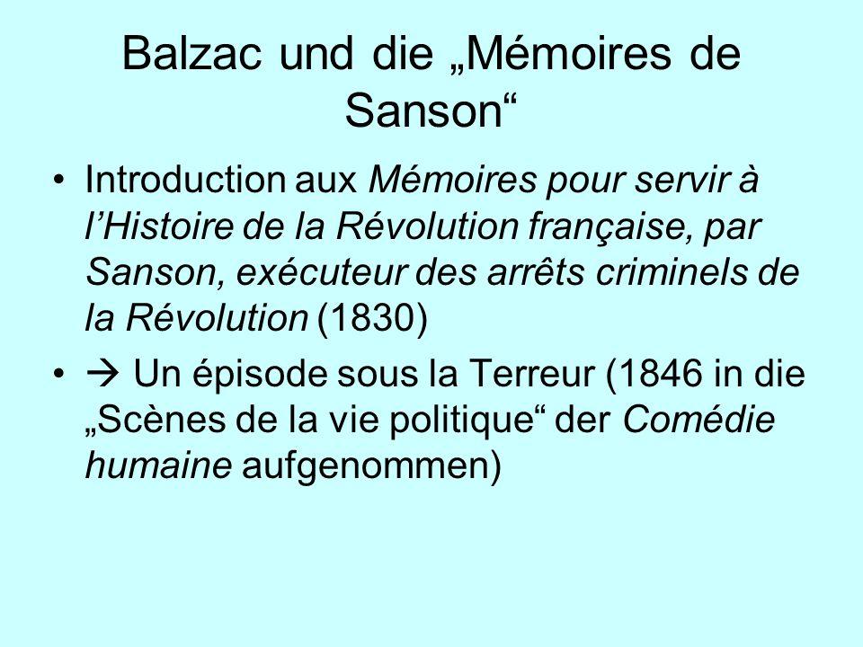"Balzac und die ""Mémoires de Sanson"