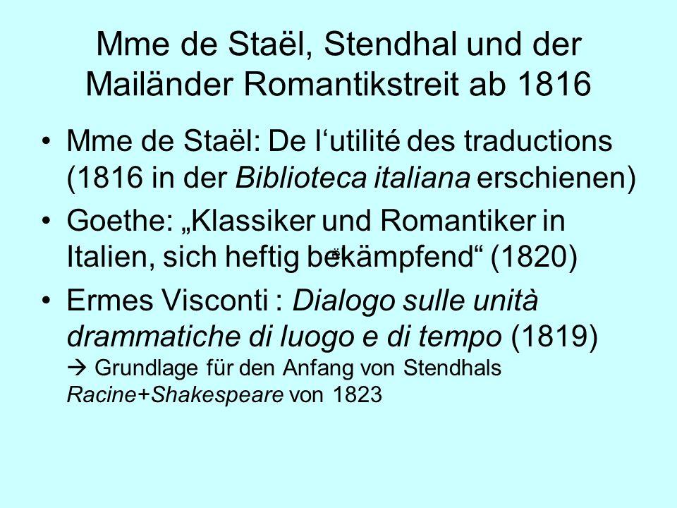 Mme de Staël, Stendhal und der Mailänder Romantikstreit ab 1816