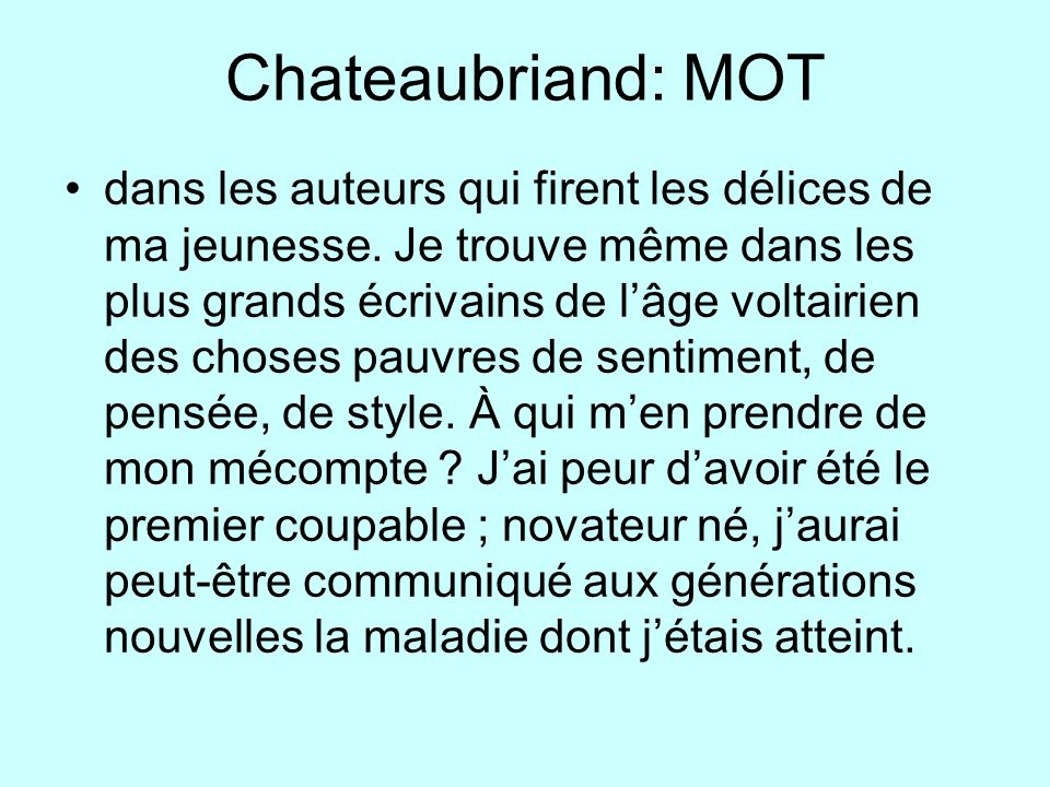Chateaubriand: MOT