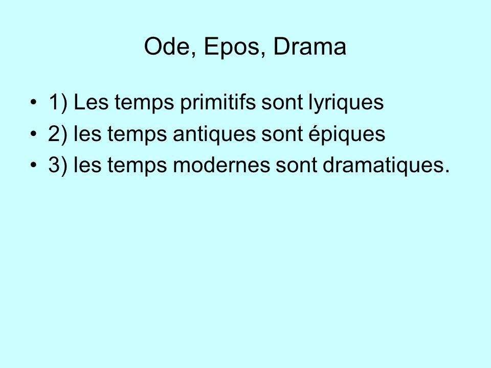 Ode, Epos, Drama 1) Les temps primitifs sont lyriques