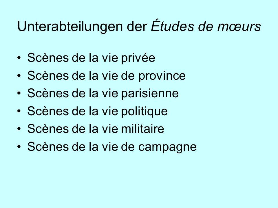 Unterabteilungen der Études de mœurs