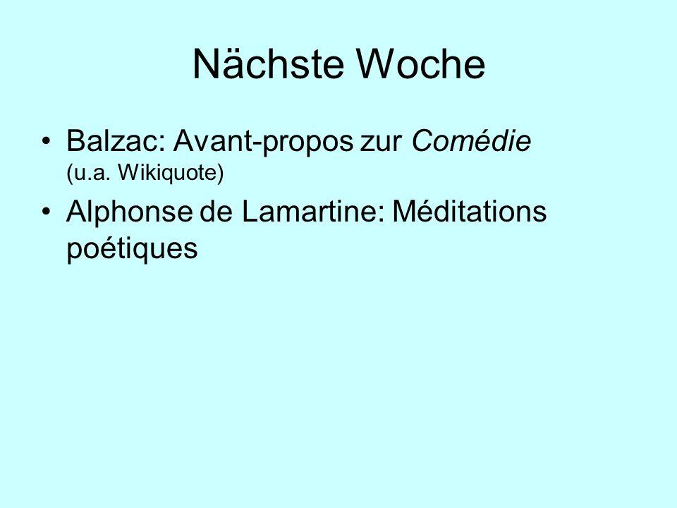 Nächste Woche Balzac: Avant-propos zur Comédie (u.a. Wikiquote)