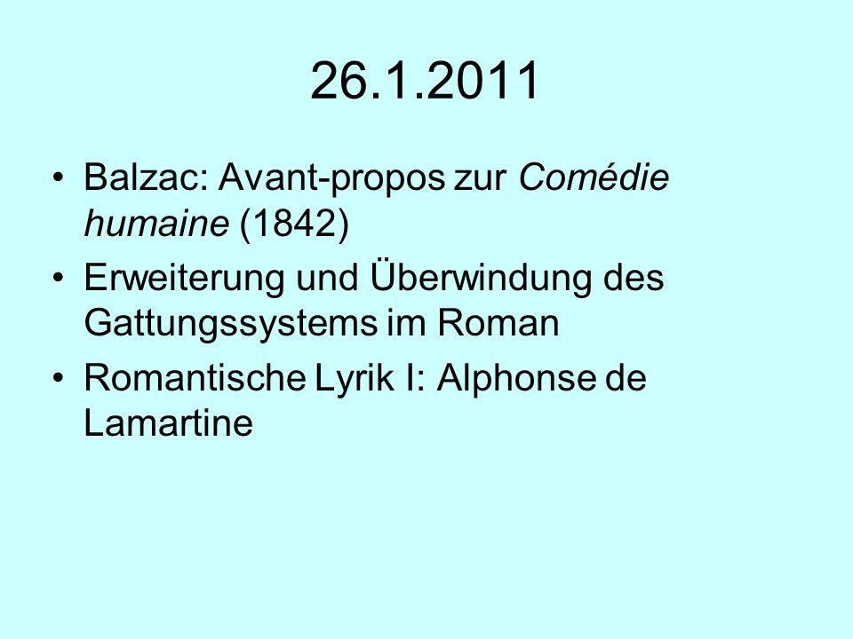26.1.2011 Balzac: Avant-propos zur Comédie humaine (1842)