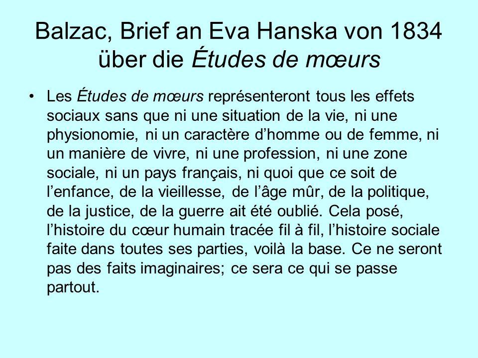 Balzac, Brief an Eva Hanska von 1834 über die Études de mœurs