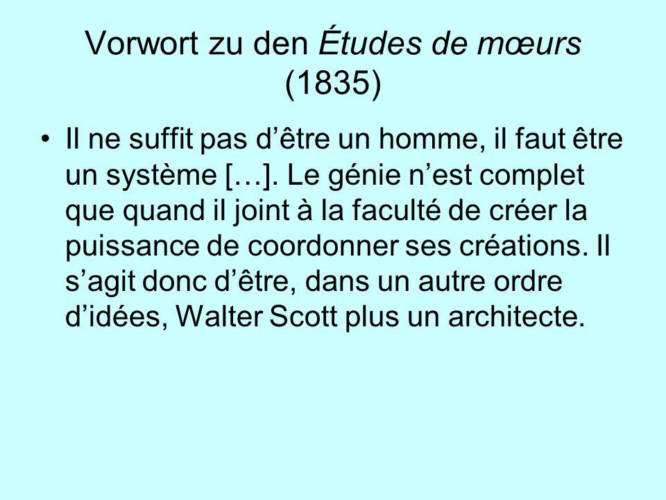 Vorwort zu den Études de mœurs (1835)