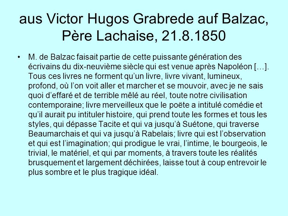 aus Victor Hugos Grabrede auf Balzac, Père Lachaise, 21.8.1850
