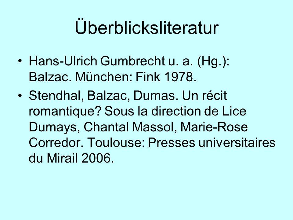 Überblicksliteratur Hans-Ulrich Gumbrecht u. a. (Hg.): Balzac. München: Fink 1978.