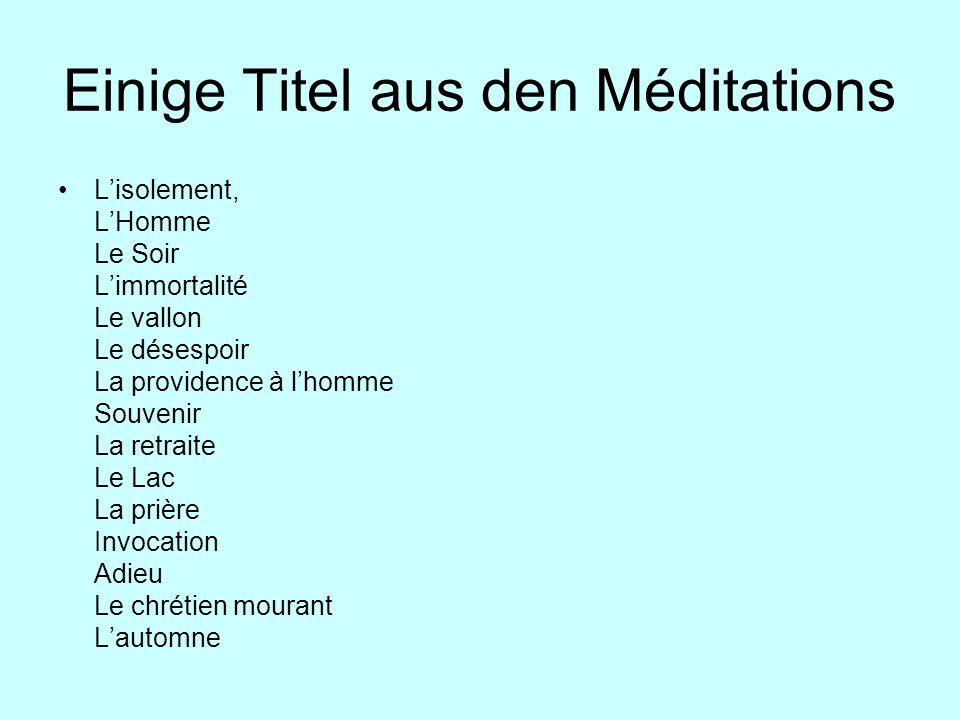Einige Titel aus den Méditations