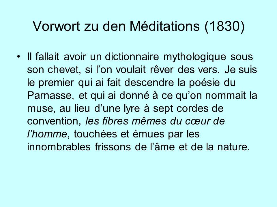 Vorwort zu den Méditations (1830)