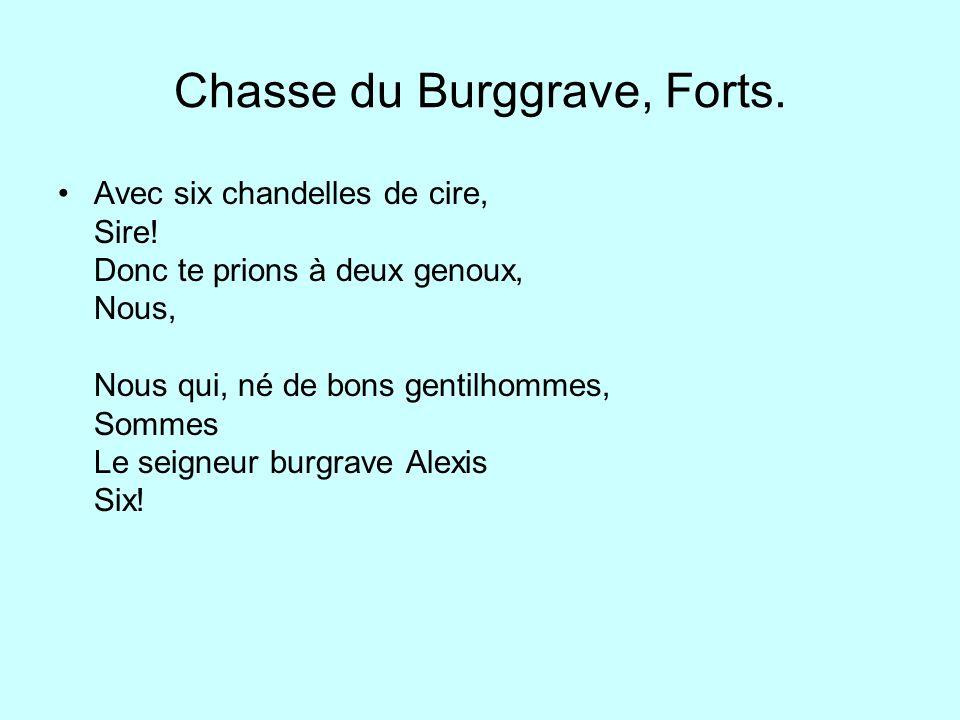 Chasse du Burggrave, Forts.