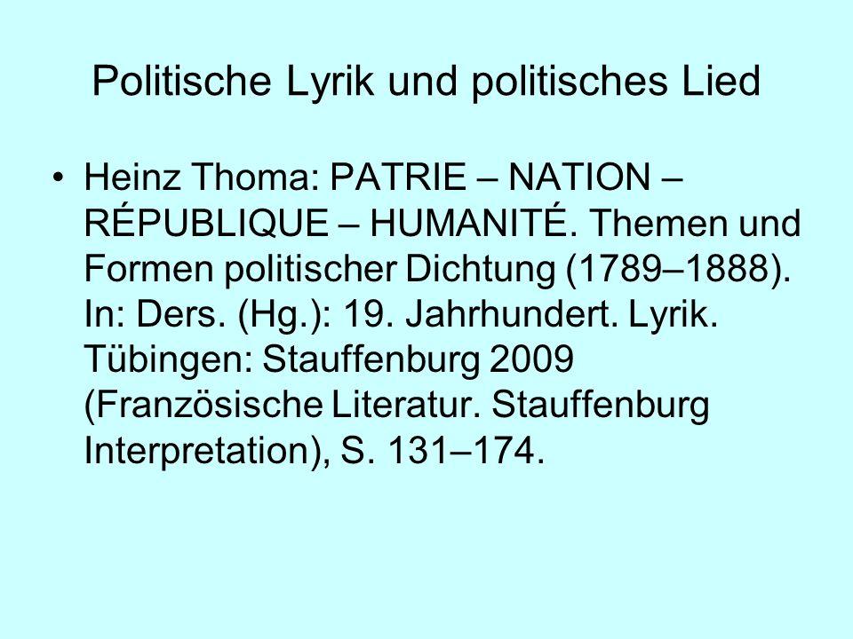 Politische Lyrik und politisches Lied
