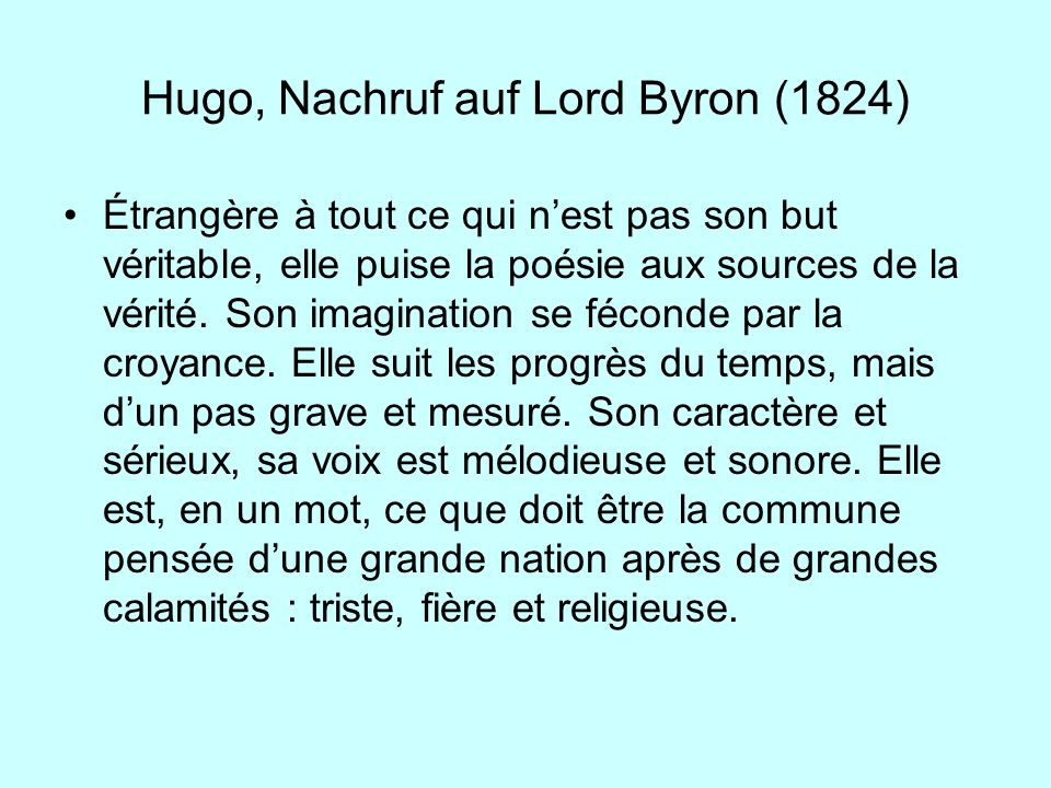 Hugo, Nachruf auf Lord Byron (1824)