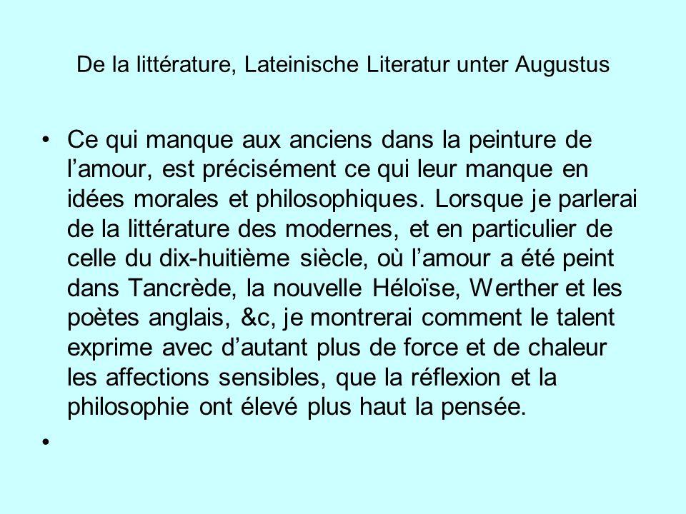 De la littérature, Lateinische Literatur unter Augustus