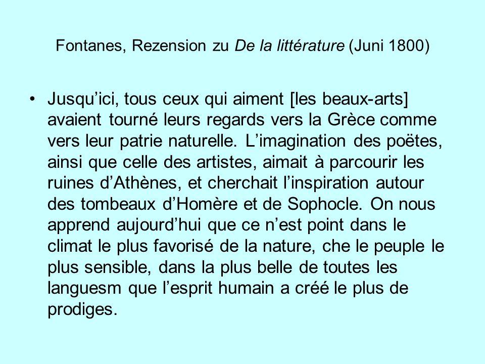 Fontanes, Rezension zu De la littérature (Juni 1800)