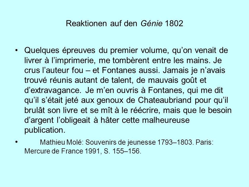 Reaktionen auf den Génie 1802