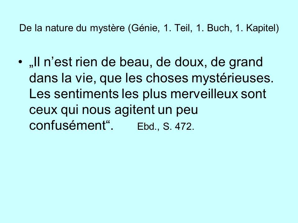 De la nature du mystère (Génie, 1. Teil, 1. Buch, 1. Kapitel)