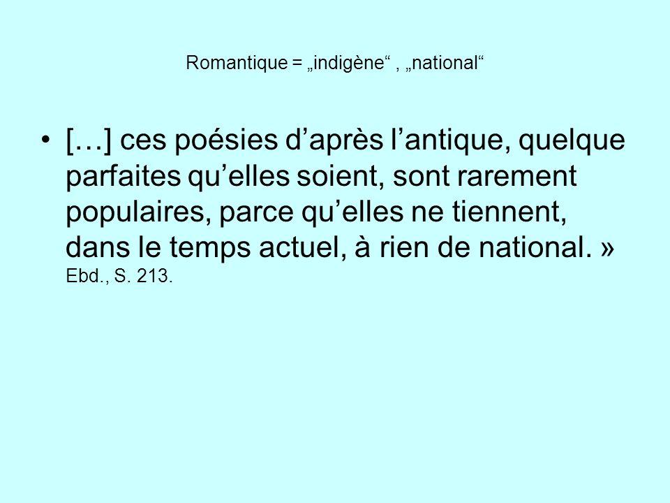 """Romantique = """"indigène , """"national"""