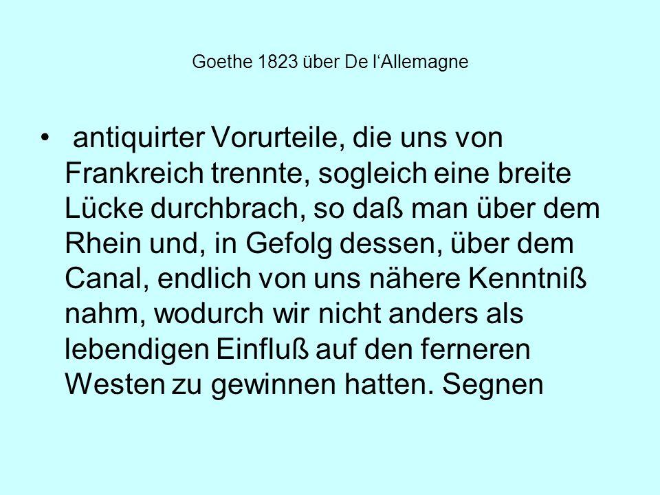Goethe 1823 über De l'Allemagne