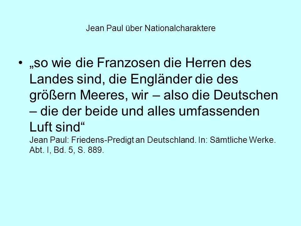 Jean Paul über Nationalcharaktere