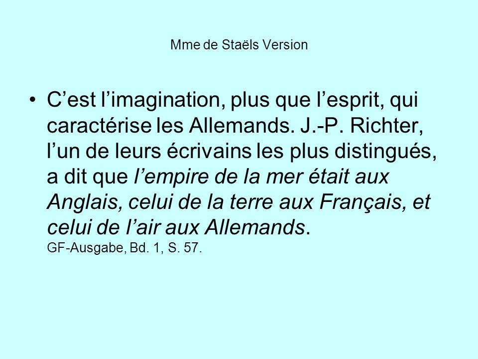 Mme de Staëls Version
