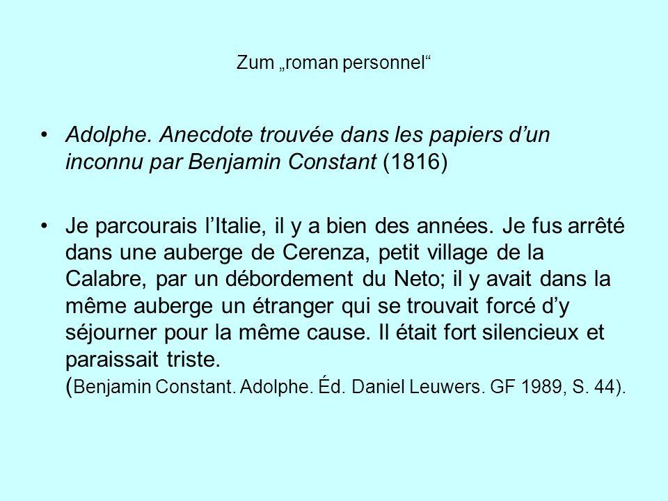 """Zum """"roman personnel Adolphe. Anecdote trouvée dans les papiers d'un inconnu par Benjamin Constant (1816)"""