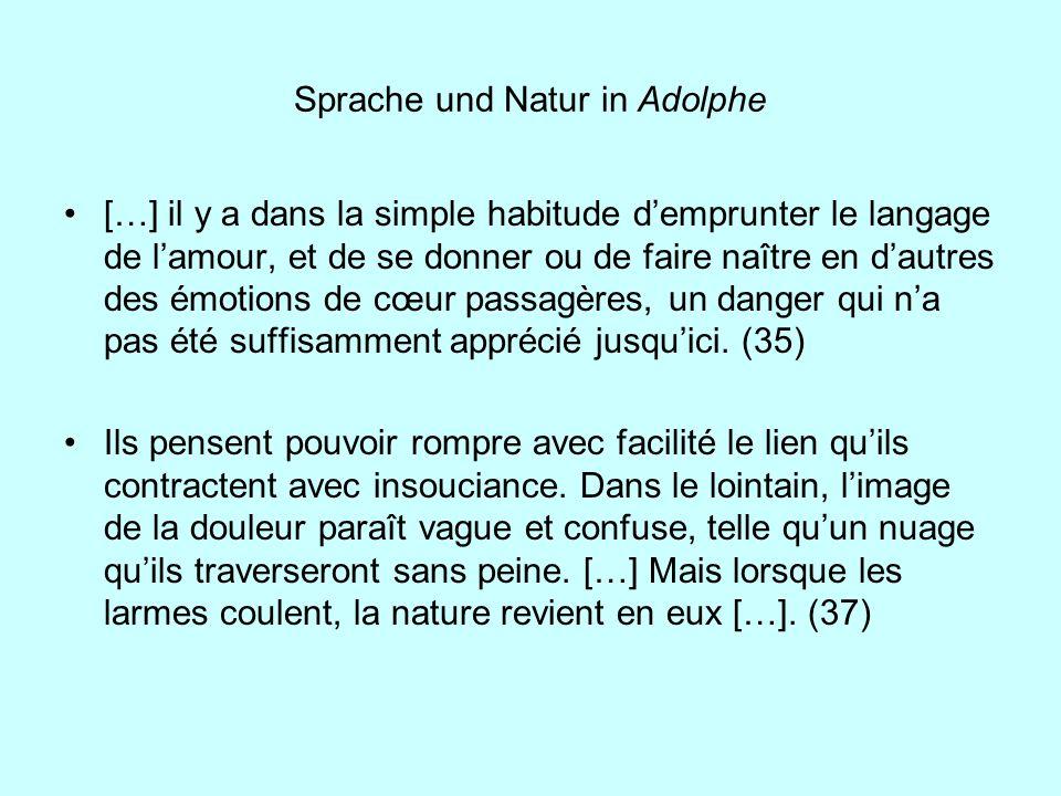Sprache und Natur in Adolphe