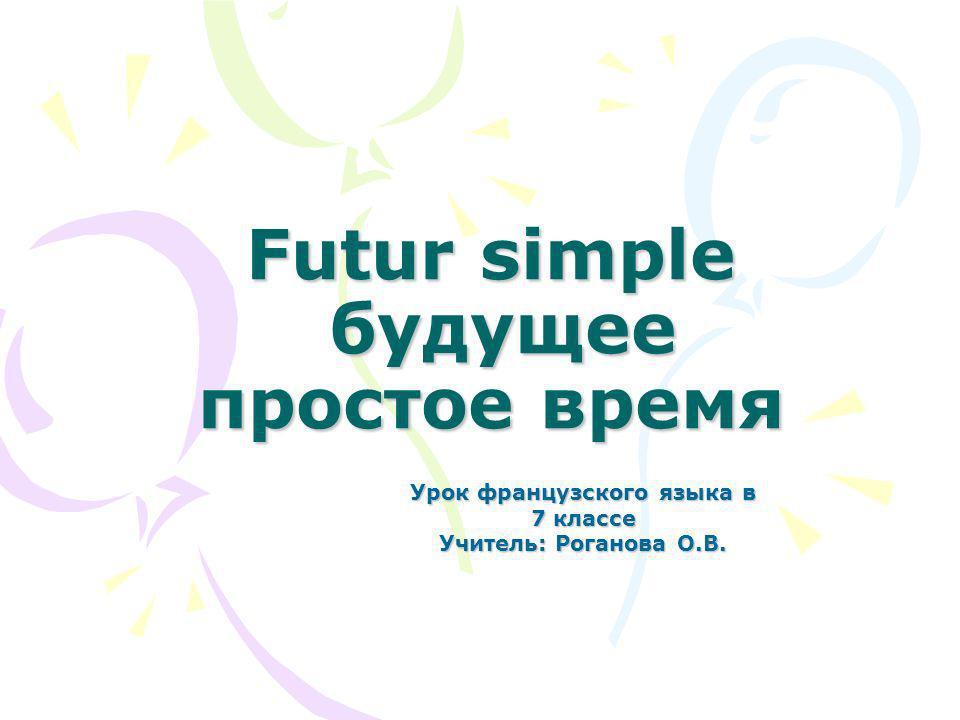 Futur simple будущее простое время
