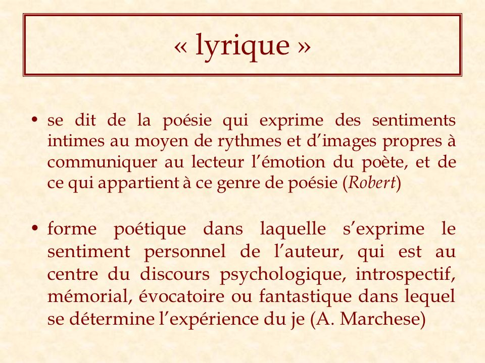 « lyrique »