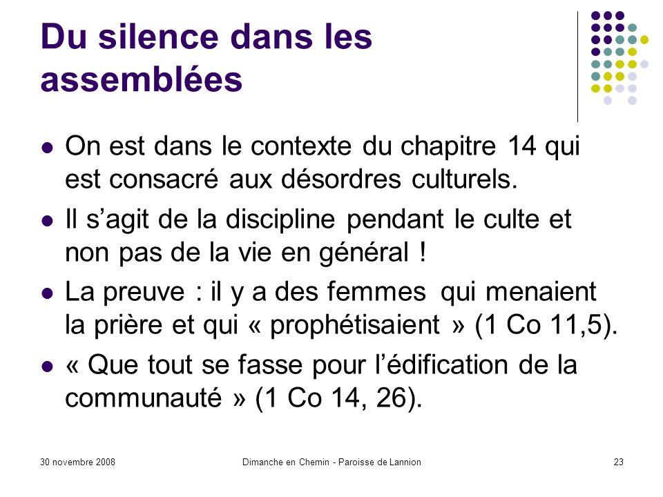 Du silence dans les assemblées