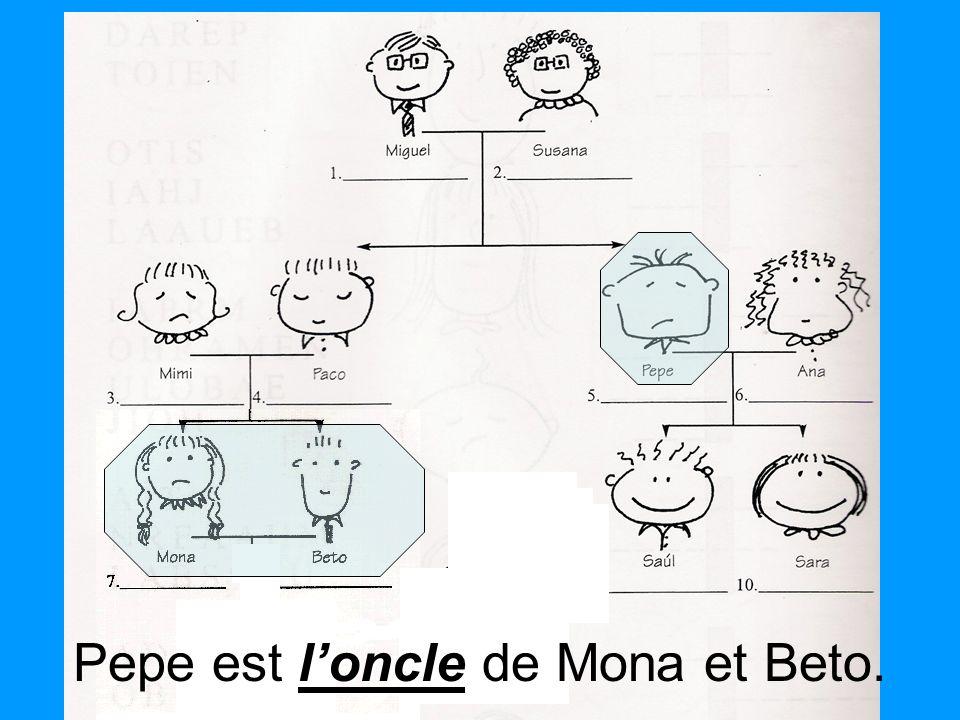 Pepe est l'oncle de Mona et Beto.