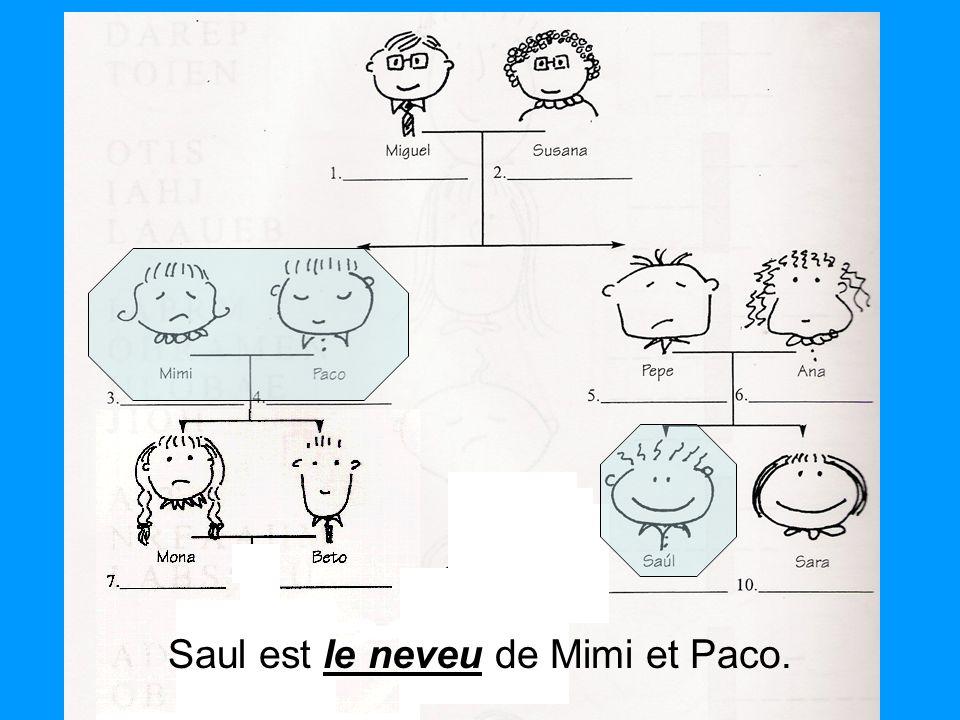 Saul est le neveu de Mimi et Paco.