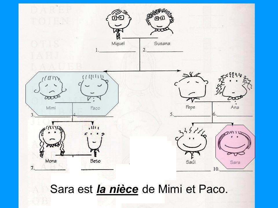 Sara est la nièce de Mimi et Paco.